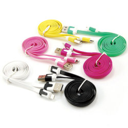 câble de données de nouilles plat coloré pour Micro/lightning/femelle de type C Adaptateur de Charge