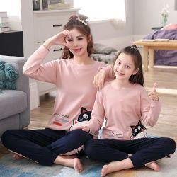 Lange Hülsen Muttergesellschaft-Kind Pyjamas mit Katze-Druck