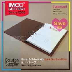 Imee Retro personalizado Impressão PU capa dura encadernação em espiral para notebook de folhas soltas