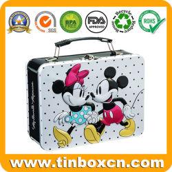 Casella di pranzo dello stagno del metallo della maniglia con il disegno del regalo di Mickey Minnie