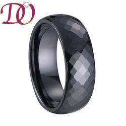 Anello sfaccettato nero di ceramica nero del Tourmaline sfaccettato commercio all'ingrosso dell'anello di cerimonia nuziale