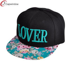 刺繍された花の平らなビルの急な回復の帽子の調節可能な急な回復の野球帽