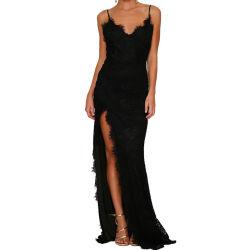 Preto elegante Yum Lacy Lace Parte Prom vestido à noite