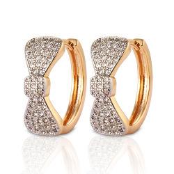 Fashion 18K liga de prata jóias de ouro queda do Prisioneiro Huggie CZ Hoop brincos com Crystal para Mulheres
