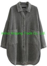ثني سترة كبير جيب مخمل مضلّع قميص لأنّ نساء دثار سائبة نحيلة وسط طول