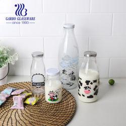 1L 투명 컬러 반투명한 로고 또는 데칼 로고 유리병 마개가 있는 음료 미네랄 워터 주스 우유 유리 병 500ml 300ml 550ml