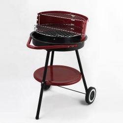 屋外のバーベキュー20インチの車輪が付いている円形のトロリー木炭BBQのグリル