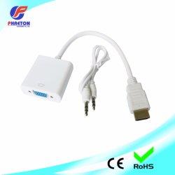 オーディオ電源コンバータケーブル付き HDMI-VGA アダプタ 1080p