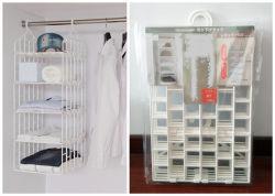 도매 새 스타일 가구 접이식 PP 플라스틱 걸이옷 보관 선반 접이식 벽장 오거나이저 랙
