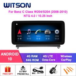 Witson Android 10 4G 64G автомобильная аудиосистема для мультимедийной системы Mercedes-Benz C Class W204/S204c180, C200, C220 C250, C260 C280 C300c350 Ntg4.0/ Ntg4.5 GPS аудиосистемы автомобиля