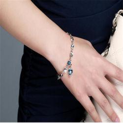 Мода Heart-Shaped Lucky браслет природных Blue Crystal очарование браслет для женщин романтический подарок на день Святого Валентина