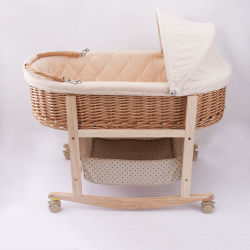 고급 노블 베이비 슬리핑 위커 크래들 침대(브래킷 포함