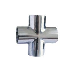 3A 304 conexiones de tubo de acero inoxidable de 4 vías sanitarias cruz