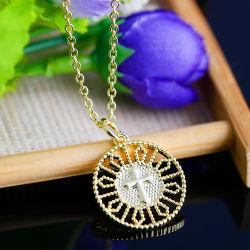 Collar de Oro americano y europeo, hueco redondo original colgante, de bronce de antigüedades joyas religiosas transfronterizo dorados
