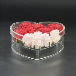 Resistente al agua de acrílico en forma de corazón Flor de metacrilato con tapa de caja de regalo