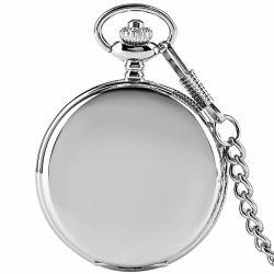 Lisa Movt hecho personalizado de la fábrica japonesa de cuarzo reloj de bolsillo de plata grabada con la cadena a granel