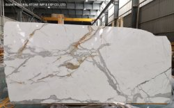 China Natural White/Grey/Black Stone Slabs Calacatta Oro Gold Marble for Bouwmateriaal voor wand/vloer-tegel/Vanity Top