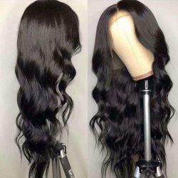 100% 브라질 버진 인간 헤어 투명 스위스 끈 HD 바디 웨이브 컬 끈 블랙 여성용 프론트 가발