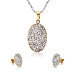 Oval brillante Collar personalizado de la fábrica de joyas pendientes para la Mujer