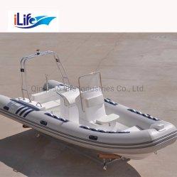 Ilife 5.8m Custormized PVC/Hypalonの堅い外皮のFirberglass 11人のための船外モーターを搭載する膨脹可能なゴム製釣スポーツFRPのボート