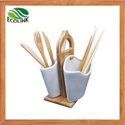 Ustensile en céramique Titulaire de l'organiseur avec bambou Stand