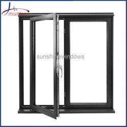 Revêtement en poudre de couleur grise thermiquement cassé fenêtres en aluminium avec écran de sécurité