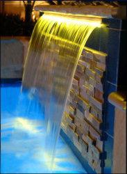 """47"""" водопад сливную трубку акрил 5.9"""" губы и светодиодный индикатор газа Combo теплый белый функция воды"""