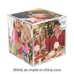 Custom clair grand six côtés Cadre Photo cube acrylique
