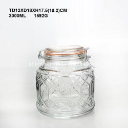 Almacenamiento de vidrio Vidrio Jarra lata menaje de cocina
