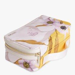 سفر نساء جذّابة بنية حالة كبيرة أطلس [ترين كس] منام مع شبكة جيب مجوهرات لون قرنفل مستحضر تجميل حقيبة