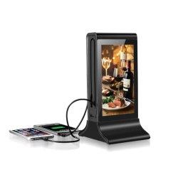Peça Fyd-835s novo carregador móvel sem fio Restaurante Estação de Carregamento de publicidade digital de mesa Powerbank menu Menu de Suporte de banco de Potência