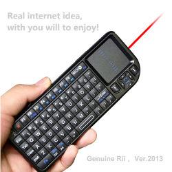 새로운 2014 Ver Rii Ultra Mini 2.4G 무선 키보드 PC/PS3/Android Google용 터치패드 및 레이저 포인터 충전식 리튬 이온 TV 박스/스마트 TV/HTPC/IPTV