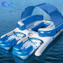 고품질 6 사람 팽창식 바다 섬 수영장 뜨 로비 부유물 테이블