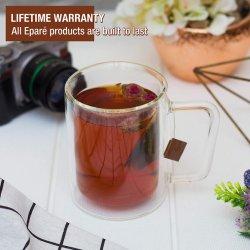 16 Oz tazas de café de vidrio claro vidrios de doble pared de vidrio aislante con mango - Gran Espresso Café Capuchino o taza de té