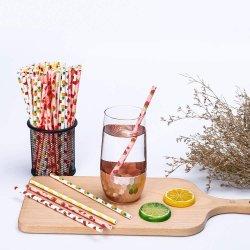スイカのわら、夏のショッキングピンク及び緑の党は-25パックの庭の結婚式の供給、型によって分類されるカラーポルカドット及びシェブロンによって縞で飾られるフルーツのスイカを供給する