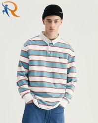 Großhandelsform-Herbst-langes Hülsen-Polo-Stutzen-Hemd-gestreiftes T-Shirt für Männer