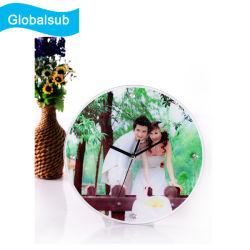 Cadre Photo en verre avec horloge Forme ronde 12 inch