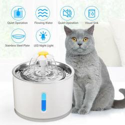 حيوان أليف وعاء pet USB محبوبة يشرب موزع لكلاب Cat 2.4 لتر، صمام LED كهربائي للنافورة المائية الأوتوماتيكي