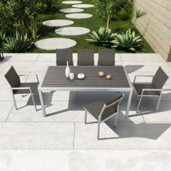 Muebles de jardín al aire libre de aluminio mesa de comedor de madera de plástico con la eslinga silla - Ayers (listo para el envío)