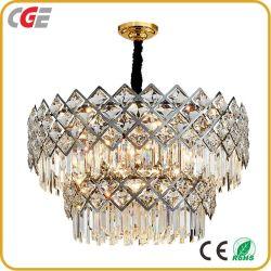 K9 Kristall Kronleuchter Plating Lampe moderne Runde ovale Golden Crystal Glas Anhänger Hotel Lobby Kronleuchter Beleuchtung Dekoration