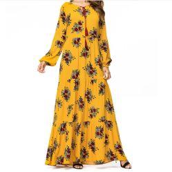 Vestito lungo di vendita caldo dalla stampa floreale della signora Muslim Fashion Yellow del partito delle donne di cerimonia nuziale nuziale etnica di Abaya maxi