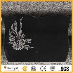 Europeia da árvore de flores esculpidas personalizados pedra granito preto polido Headstone/Tombstone/Monument
