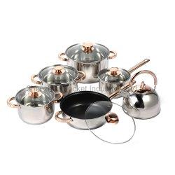 il Cookware dorato della maniglia dell'acciaio inossidabile 12PCS ha impostato con la parte inferiore pesante