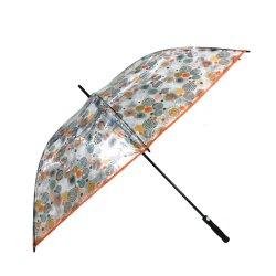 A fábrica de 30 polegada nova invenção promoção OEM de publicidade à prova clara PVC Globo transparente guarda-chuva Fibra Exterior Umbrella Dom Laranja Golf Umbrella