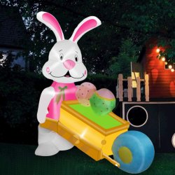 Egg の幸せなイースター装飾の屋内との膨張式バニー押し車 広告