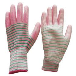 Bom preço colorido 13G CAMISA DE POLIÉSTER PU Palm Trabalho médios com luvas de segurança do trabalho e desgaste Resistência estática