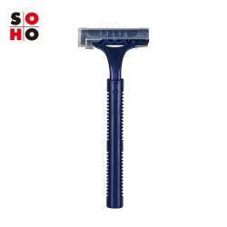 Dorco jetables Rasoir 2 lames en acier inoxydable/ensemble de rasage avec du lubrifiant multiple (bleu foncé)