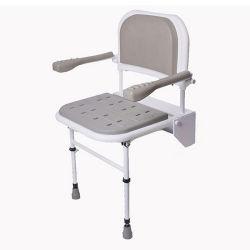 كرسي حمام مجهّز بدش قابل للضبط الطبي على الحائط كبار السن