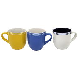 カラー縁は陶磁器の円形の腹形の簡単なマグを飲む卸し売り磁器を設計する