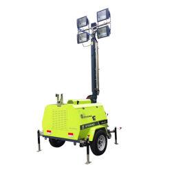 مولد محرك الديزل/البنزين الهيدروليكي المتداخل بقدرة 1000 واط*4 من نوع المقطورة الذي يعمل يدويًا برج ضوء محمول LED